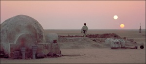 Classic shot of Tatooine with its binary star system