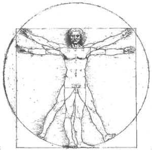 The Virtruvian Man symbolizes balance and symmetry in people