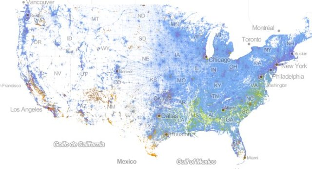 Amazing map of the diversity in America. Note the concentration of African Americans in the south. Check it out at http://www.huffingtonpost.com/2013/08/27/map-segregation-america-race_n_3824693.html