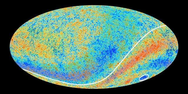 The Cosmic Microwave Background, with fluctuations overstated and enhanced so that you can see them.