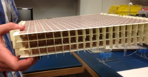 """A side view of the metamaterial """"superlens."""" Both its width and thickness affects how far it can boost the wireless transfer of power using electromagnetic fields. Credit courtesy of Duke University"""
