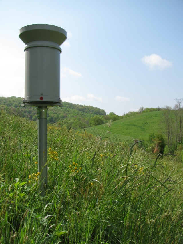 Duke engineers have spent five years building the weather data collection infrastructure that will be used to help calibrate NASA's new weather observation satellite. Here, a tipping bucket rain gauge that collects rainfall observations stands in the Pigeon River Basin.