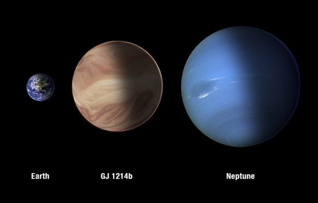 A size comparison of Earth, Neptune and GJ1214b.